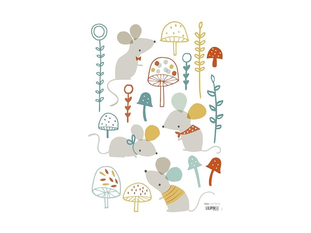 Lilipinso Samolepka na zeď Mouse and mushroom forest 28 x 42 cm