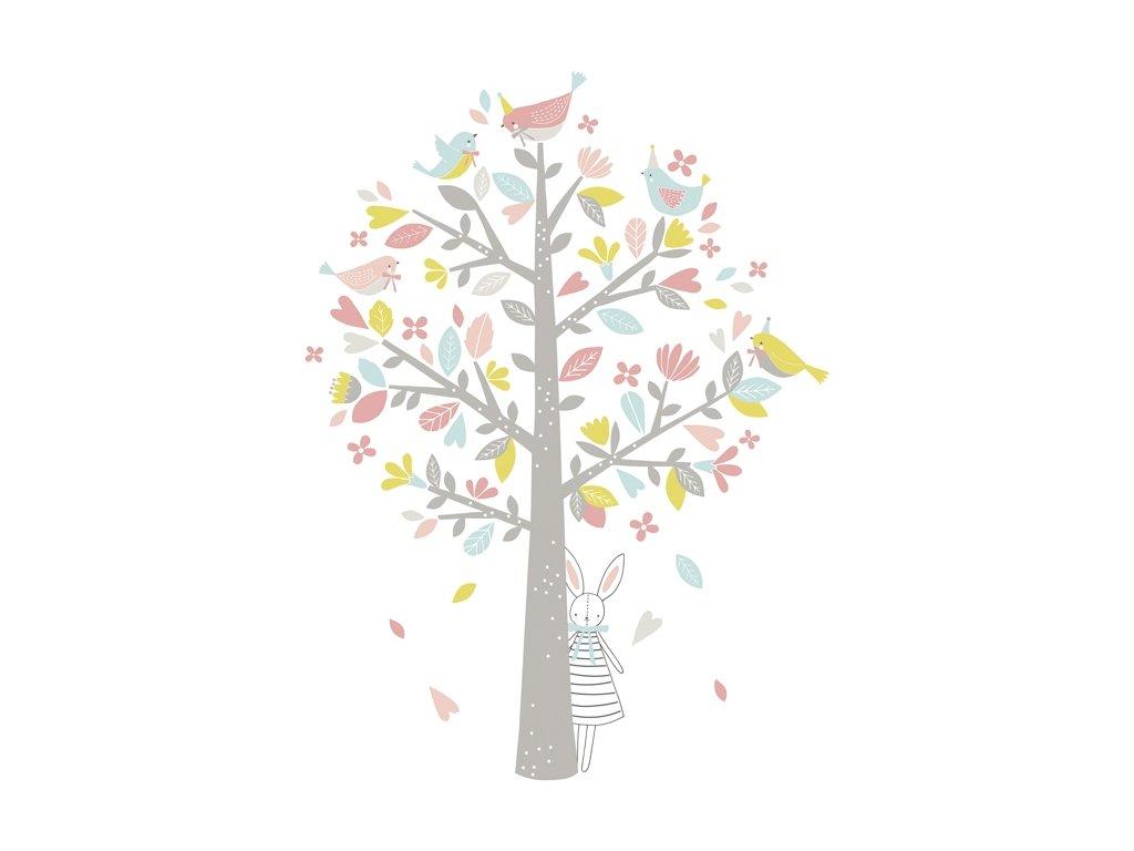 Lilipinso Samolepka strom růžovo zelený 85 x 115 cm