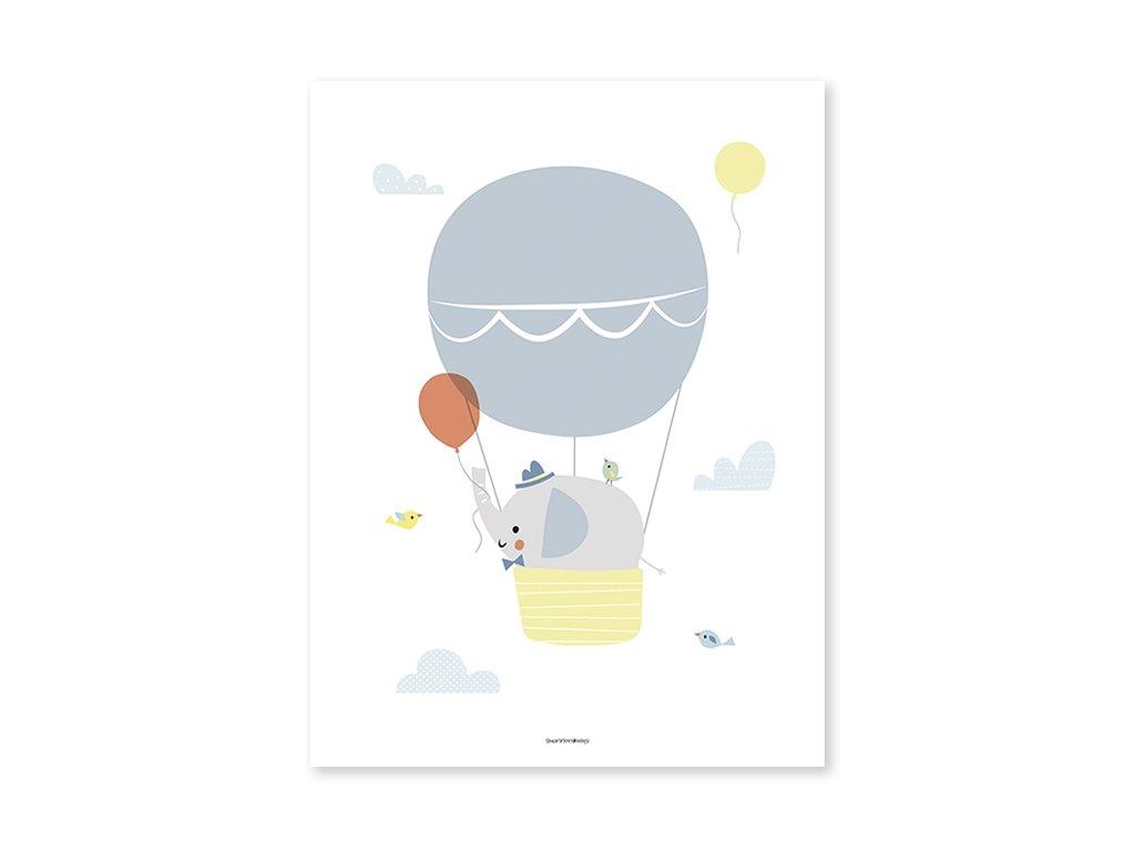 affiche bebe elephant ballon p0281