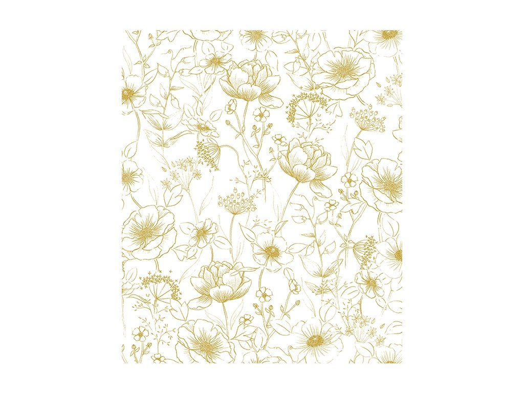 h0437 papier peint deco fleurs vintage or 50x50