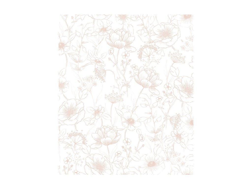 h0451 papier peint deco fleurs rose romantique 50x50