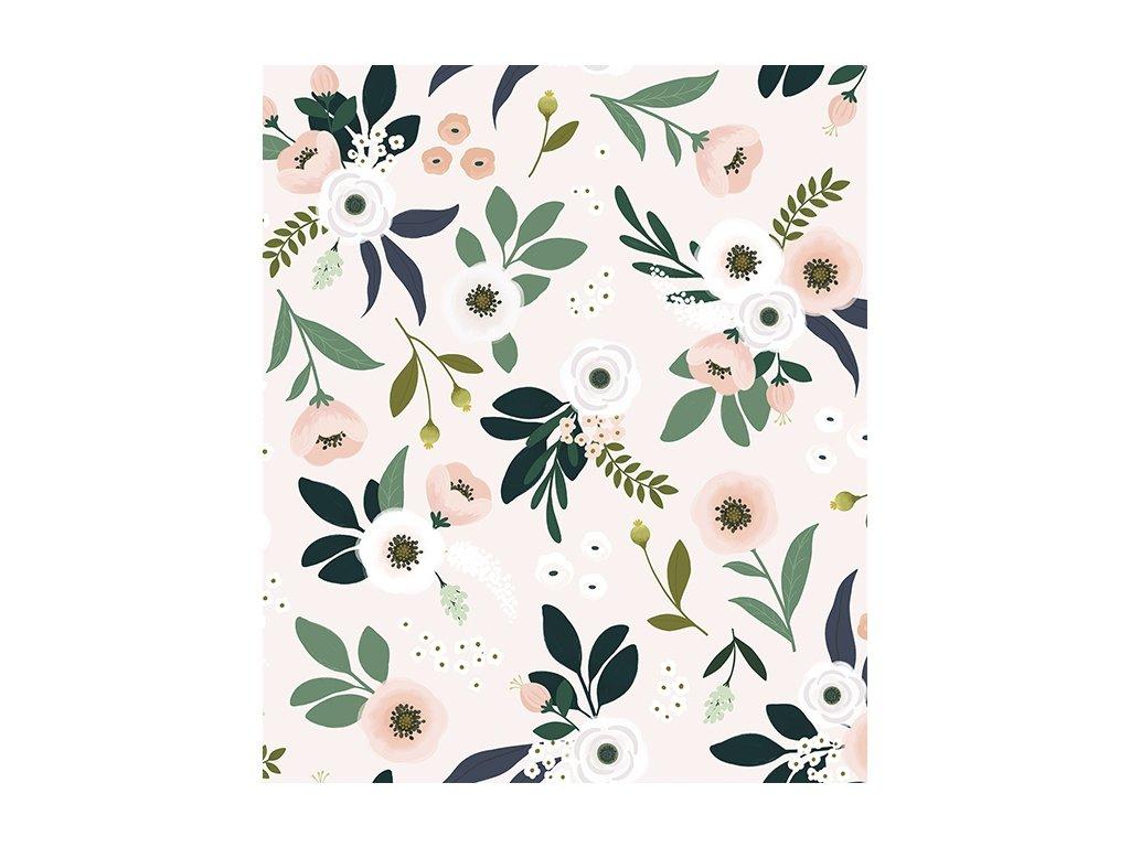 papier peint rose fleurs h0539