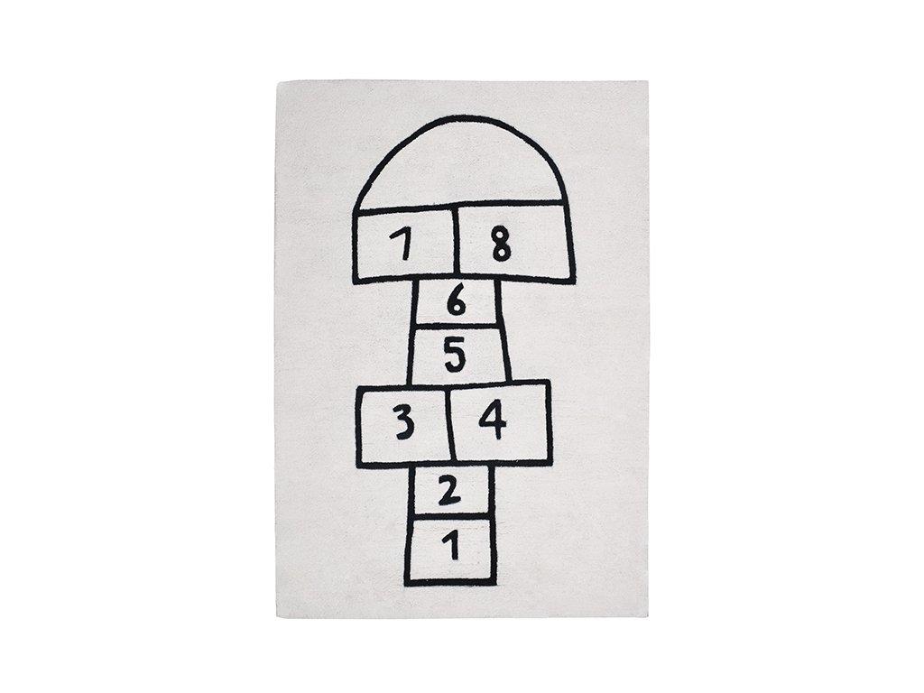 h0272 tapis marelle enfant decoration noir blanc