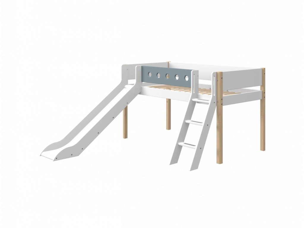 Flexa patrová postel se skluzavkou bílá / masiv /  modrá výška 120 cm