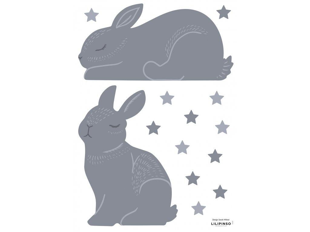 S1365 A3 bunnies violine