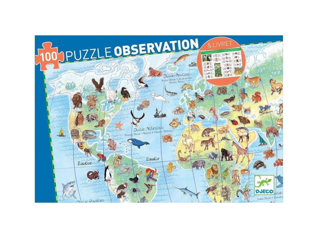 zun pl Zwierzeta swiata puzzle dla dzieci Observation 100 el DJ07420 Djeco puzzle tekturowe 12377 1