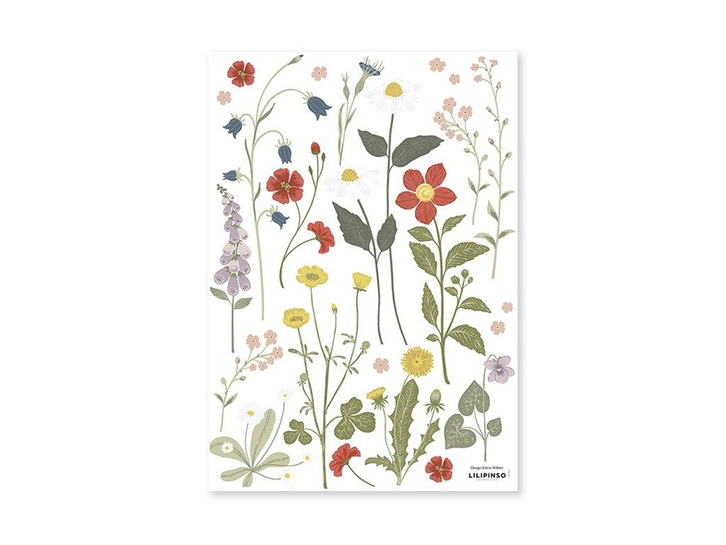 s1416 stickers fleurs bouton dor lilipinso