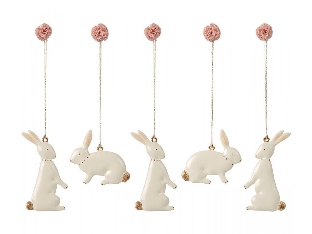 Maileg Velikonoční ozdoby králíčci set 5 ks