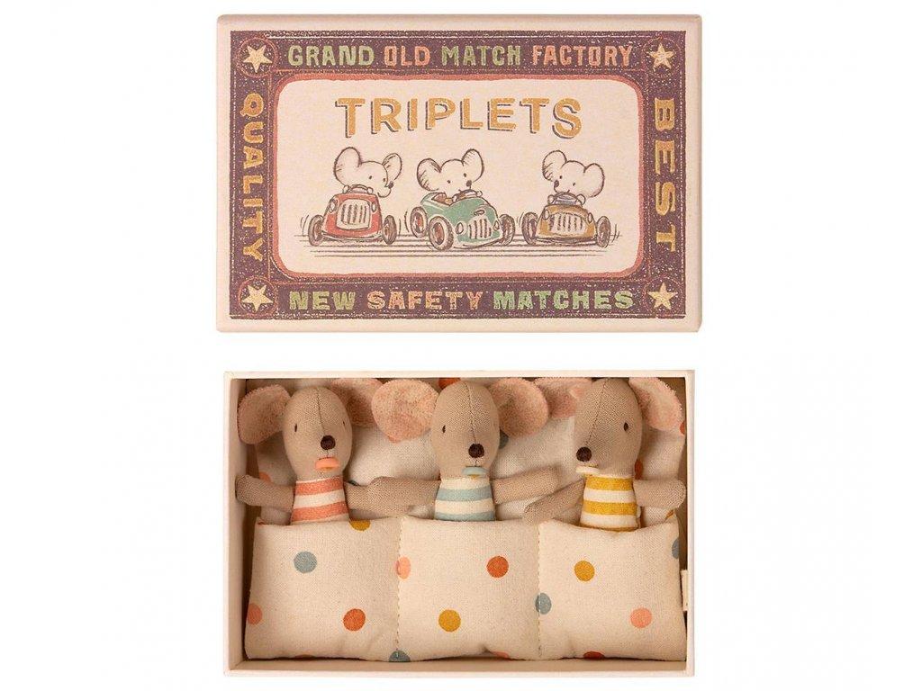 Maileg Myší trojčátka v krabičce od sirek