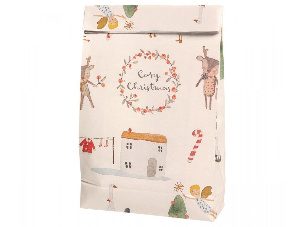 Maileg Papírový dárkový sáček Cosy Christmas - Off white