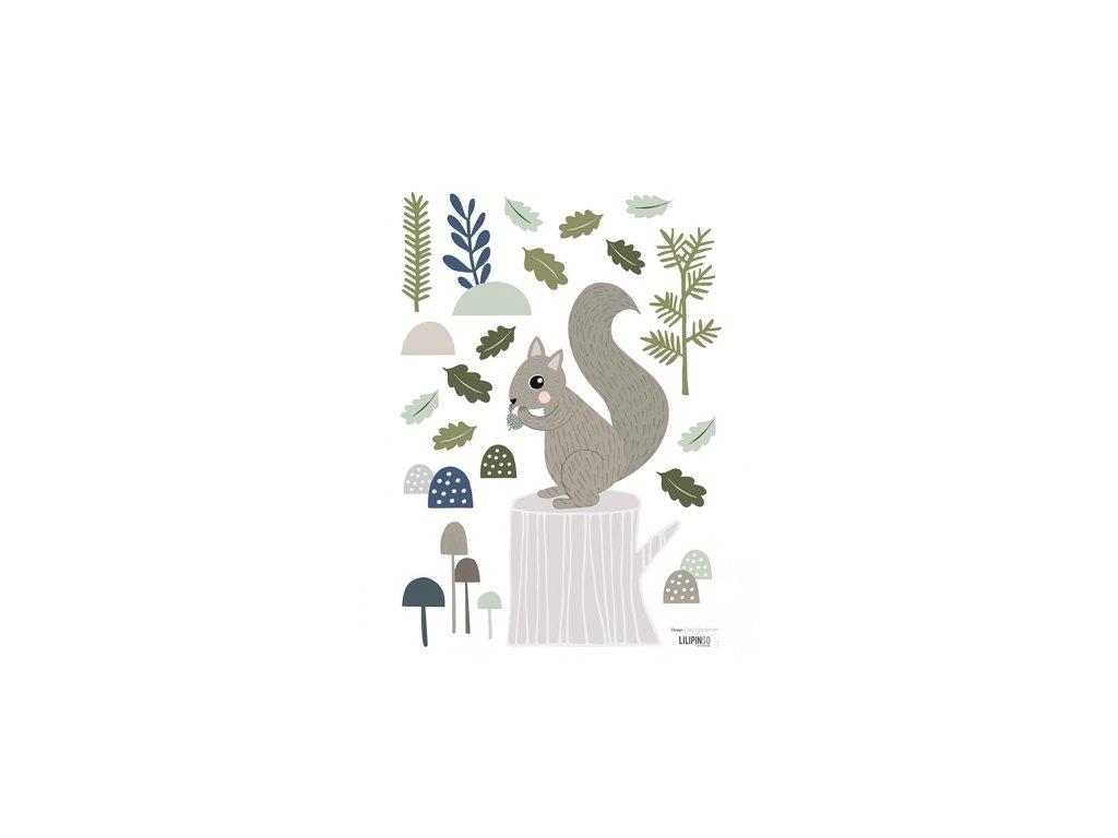 stickers ecureuil foret deco garcon enfant s1140