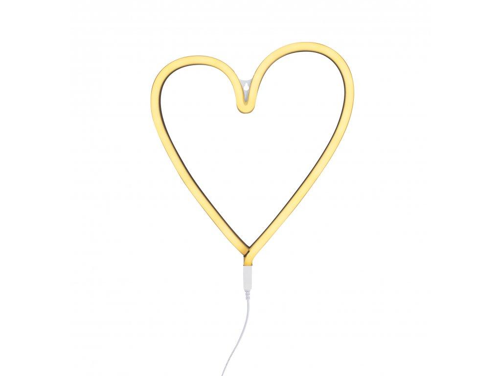 neon heart yellow