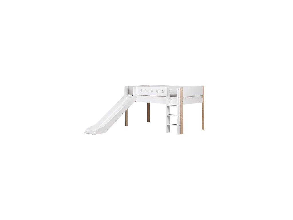 Flexa patrová postel se skluzavkou bílá / masiv výška 120 cm