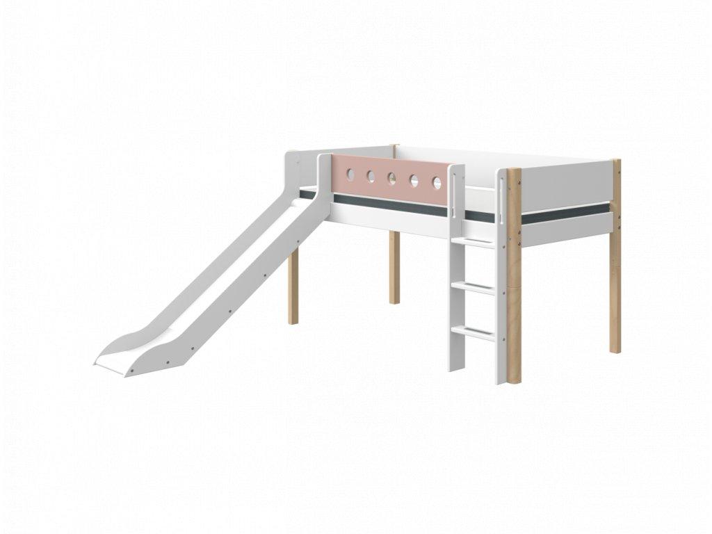 Flexa patrová postel se skluzavkou bílá / masiv / růžová výška 120 cm