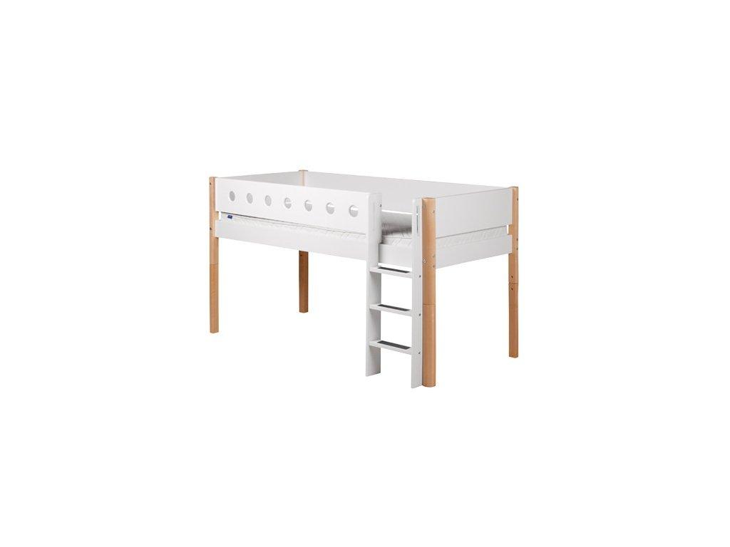 Flexa Patrová postel s rovným žebříkem bílá / natur výška 120 cm