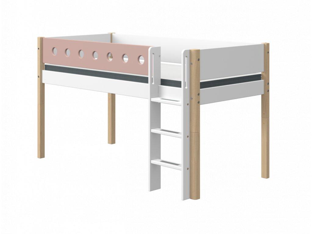 Flexa patrová postel  s rovným žebříkem bílá / natur/ růžová výška 120 cm