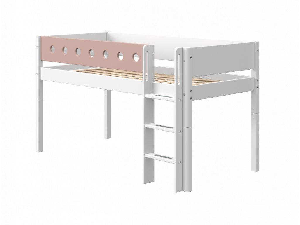 Flexa patrová postel s rovným žebříkem bílá /růžová 120 cm