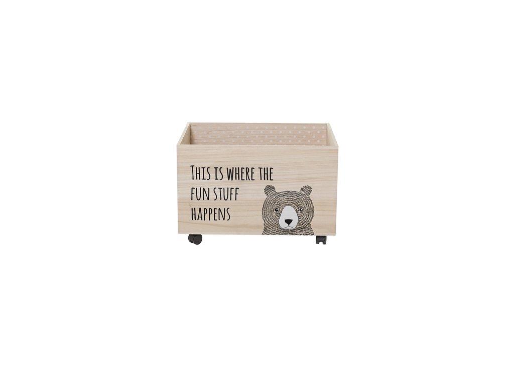 Bloomingville Dřevěný box na kolečkách Medvěd