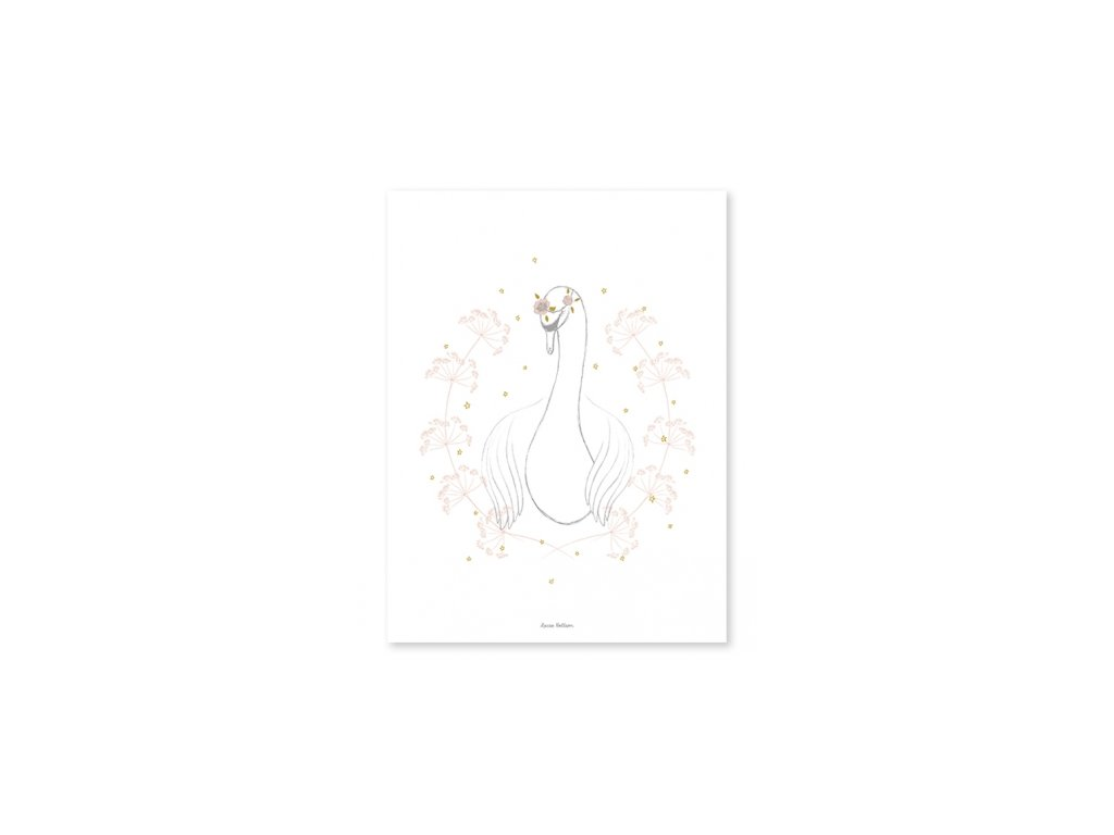 p0254 poster cygne fille vintage deco chambre bebe lilipinso