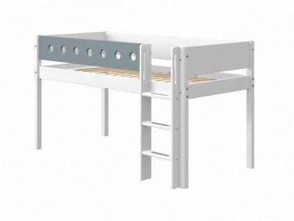 Flexa patrová postel s rovným žebříkem bílá / modrá výška 120 cm