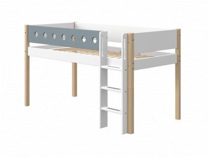 Flexa patrová postel s rovným žebříkem bílá / natur/ modrá výška 120 cm