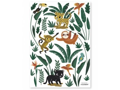 stickers jungle animaux chambre bebe decoration lilipinso s1372