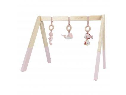 4833 Dřev. hrazdička+3zvířátka pink (2)
