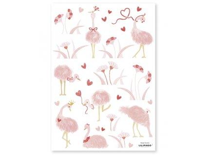 s1402 stickers autruches rose deco lilipinso