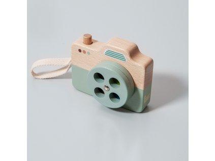 Petit Monkey Dřevěný fotoaparát modrý