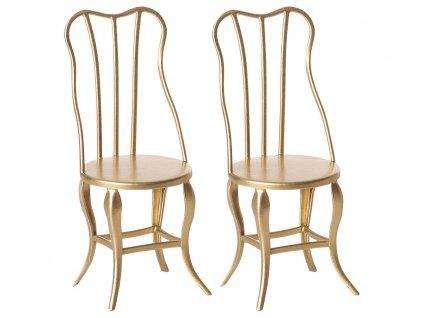 Maileg Vintage kovové židle Micro zlaté 2 ks