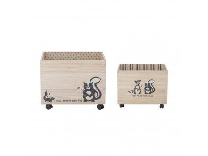 Bloomingville Dřevěný box na kolečkách set Nonny set