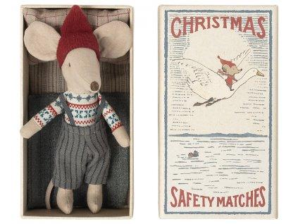 Maileg Vánoční myš v krabičce Big brother