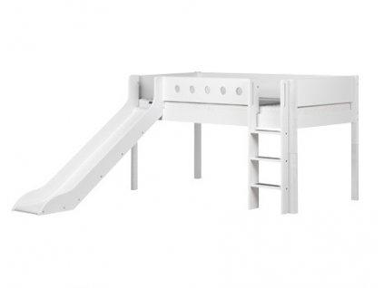 Flexa patrová postel se skluzavkou bílá výška 120 cm