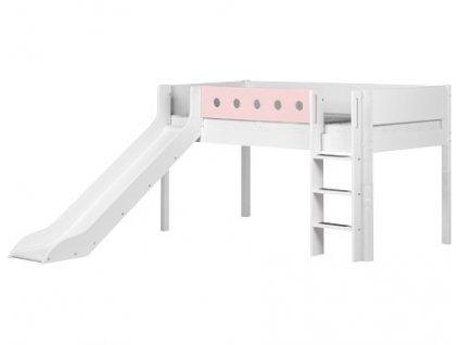 Flexa patrová postel se skluzavkou růžová