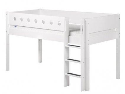 Flexa patrová postel s rovným žebříkem bílá výška 120 cm