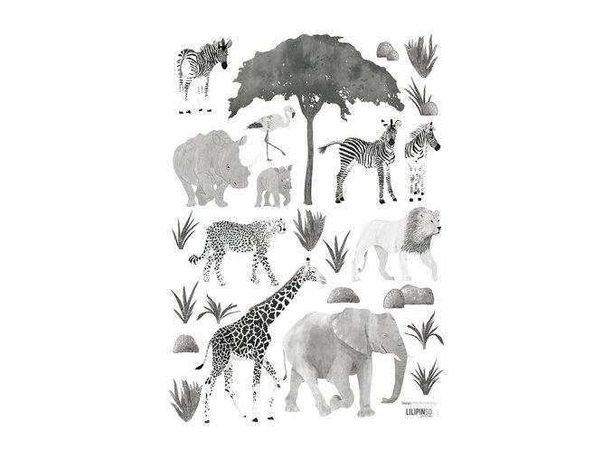 s1291 stickers enfant jungle elephant girafe lion