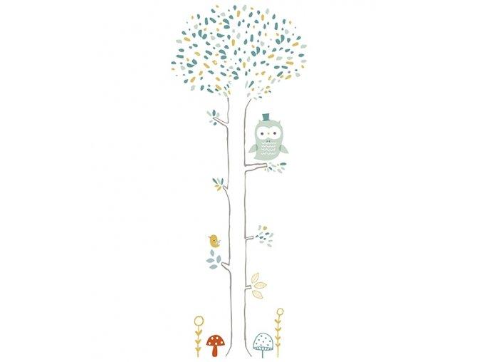 Lilipinso Samolepka na zeď Tree forest owl and mushrooms