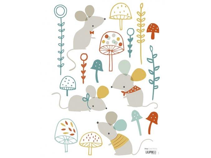Lilipinso Samolepka na zeď Mouse and mushroom forest