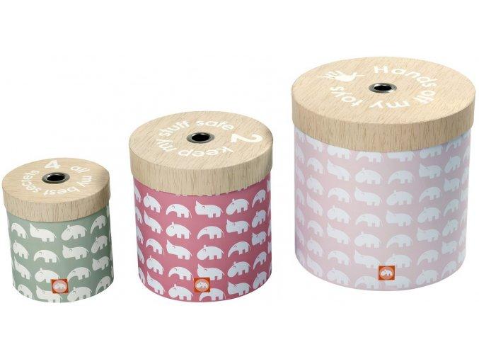 DONE BY DEER Set kulatých úložných krabic - 3 ks, růžová