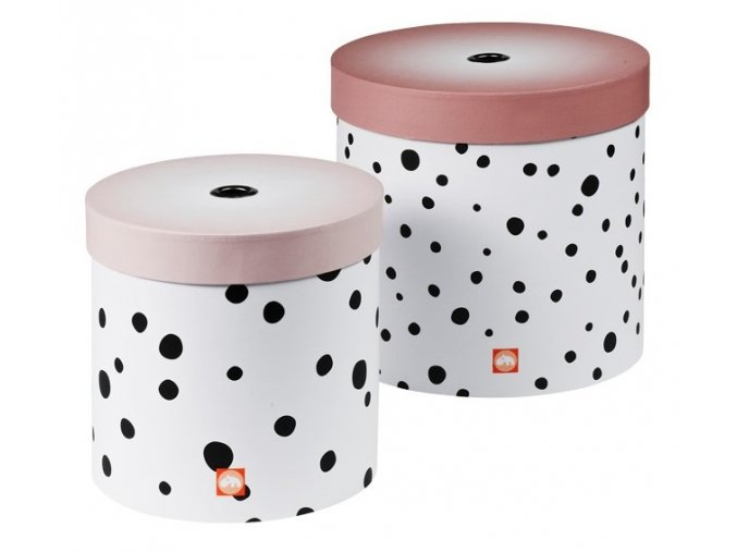DONE BY DEER Set kulatých úložných boxů Happy dots - 2 ks, růžová