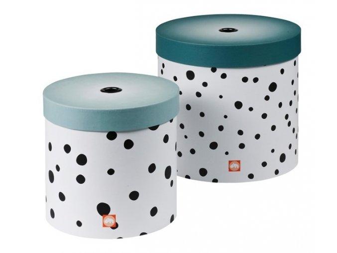 DONE BY DEER Set kulatých úložných boxů Happy dots - 2 ks, modrá