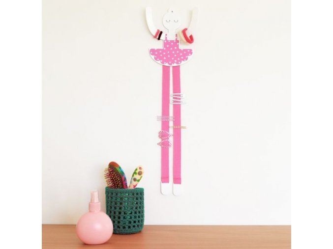 Věšáček Baletka na sponky a gumičky růžová