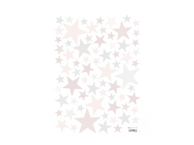 s1106 a3 stickers etoiles rose deco fille lilipinso
