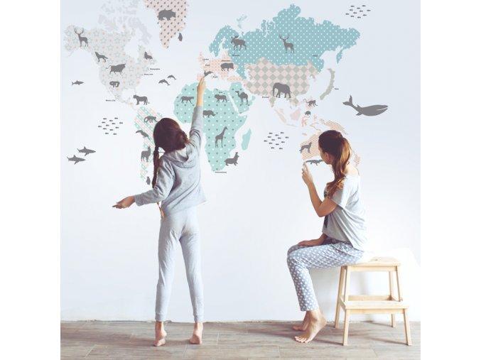 Samolepka na zeď Mapa světa Pastel