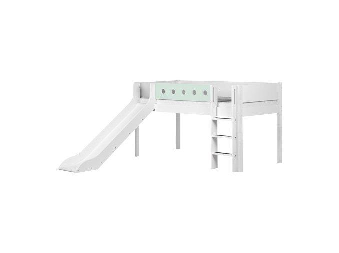 Patrová postel se skluzavkou bílá/mint