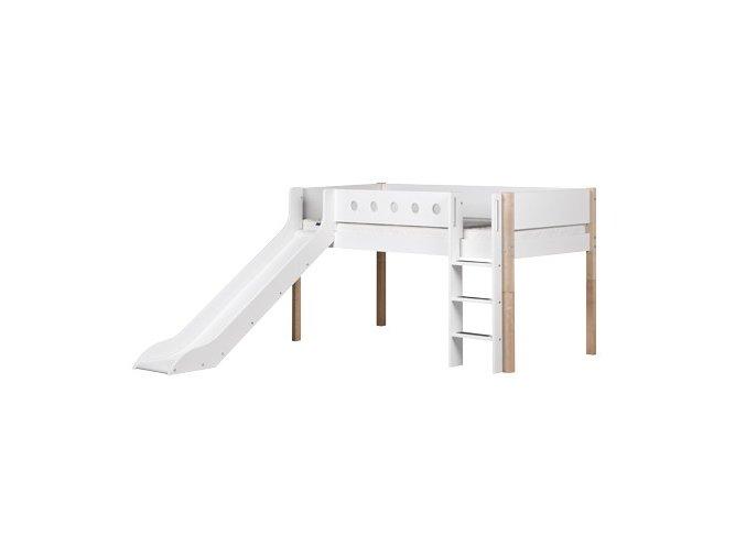 Patrová postel se skluzavkou bílá / masiv