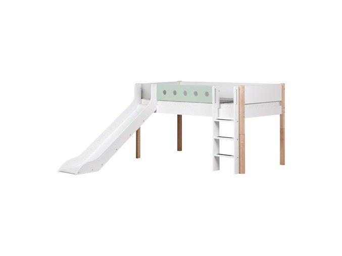 Patrová postel se skluzavkou bílá / masiv / mint