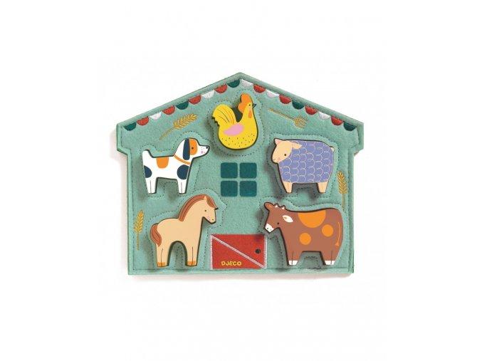 drevene vkladaci puzzle kravicka a kamaradi