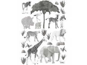 s1291 stickers enfant jungle elephant girafe lion