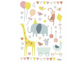 s1074 a3 stickers animaux cirque bebe fille lilipinso